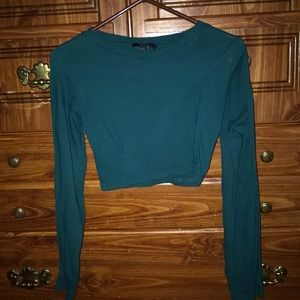 Forever 21 Long Sleeve Green fitted Knit Crop Top